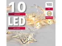 Řetěz 10LED světel, stříbrné hvězdy