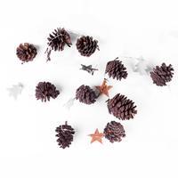 Vánoční světelný řetěz s časovačem 10LED šišky, hvězdy, stromek