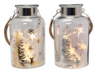 Vánoční dekorační sklenice 5LED 18,5cm