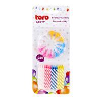 Dortová svíčka s podstavcem TORO 6cm 12+12ks