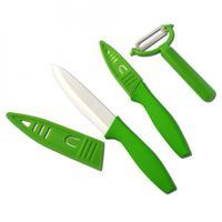 Keramické nože se škrabkou, 3 ks set, zelená