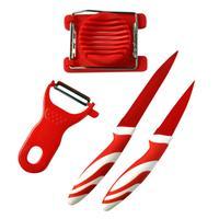 Set - 2 nože, škrabka, kráječ na vajíčka