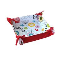 Košík na chléb, bavlna, motiv červené květy