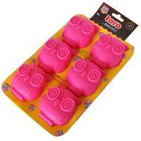 Silikonová forma na muffiny TORO 6ks sovy, růžová