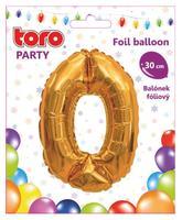 Balónek foliový TORO číslice 0 30cm