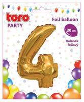 Balónek foliový TORO číslice 4 30cm