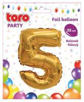 Balónek foliový TORO číslice 5 30cm