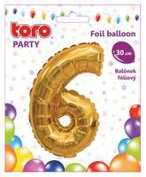 Balónek foliový TORO číslice 6 30cm