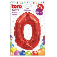 """Balónek XL, číslice """"0"""", 60 cm, matně červený"""
