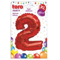 """Balónek XL, číslice """"2"""", 60 cm, matně červený"""