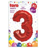 """Balónek XL, číslice """"3"""", 60 cm, matně červený"""
