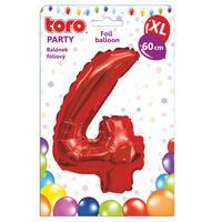 """Balónek XL, číslice """"4"""", 60 cm, matně červený"""