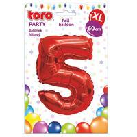 """Balónek XL, číslice """"5"""", 60 cm, matně červený"""