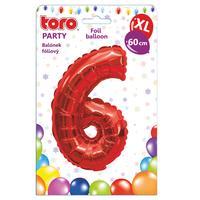 """Balónek XL, číslice """"6"""", 60 cm, matně červený"""