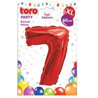 """Balónek XL, číslice """"7"""", 60 cm, matně červený"""