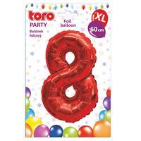 """Balónek XL, číslice """"8"""", 60 cm, matně červený"""