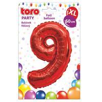 """Balónek XL, číslice """"9"""", 60 cm, matně červený"""