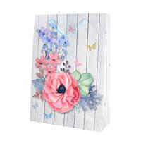 Papírová dárková taška TORO 44x31cm dřevo+květina