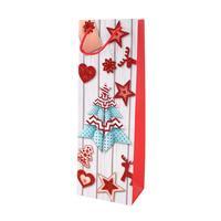 Papírová vánoční taška na víno TORO 36x12.5x8.5cm assort