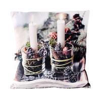 Dekorační vánoční polštář 2LED 40x40cm