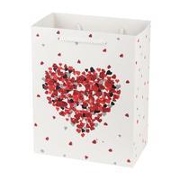 Papírová dárková taška TORO 15x14,5x6cm srdce assort