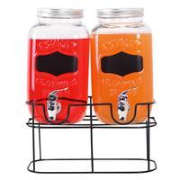 Sklenice na nápoj s kohoutkem + kovový stojan...