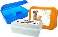 Plastový svačinový box s přepážkou MIX mazlíčci 18x13x7cm