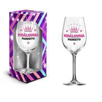 """Dárková sklenice na víno 600 ml, """"královna parketu"""""""
