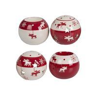 Keramický vánoční svícen na čajovou svíčku