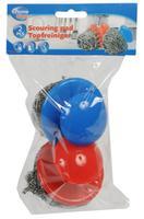 Drátěnka s úchytem 2 ks, nerez+plast, modrá+červená