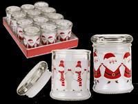 Svíčka ve skle s víčkem, vánoční motiv, assort
