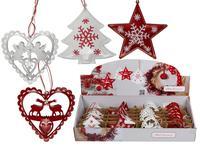 Vánoční závěsná kovová dekorace 9cm srdce