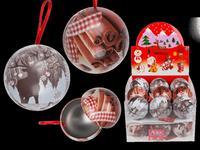 Koule vánoční, závěsná, plech, assort