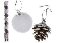 Vánoční ozdoba na stromek 4cm 10ks koule a šišky