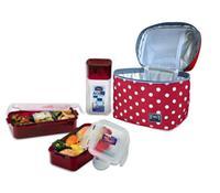 """Taška tečkovaná """"Lunch boxes"""" - červená - sada 3 ks"""