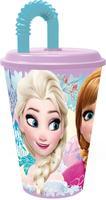 """Kelímek s brčkem """"Ledové království"""", 430 ml,  plast"""