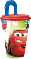 "Kelímek s brčkem ""Auta Disney"", 430 ml,  plast"