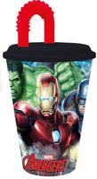 Plastový kelímek s brčkem Avengers 430ml