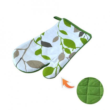 Kuchyňská chňapka, rukavice, zelené květy