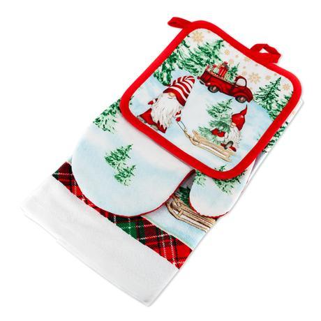 Kuchyňský vánoční set - utěrka, chňapka, ruka...