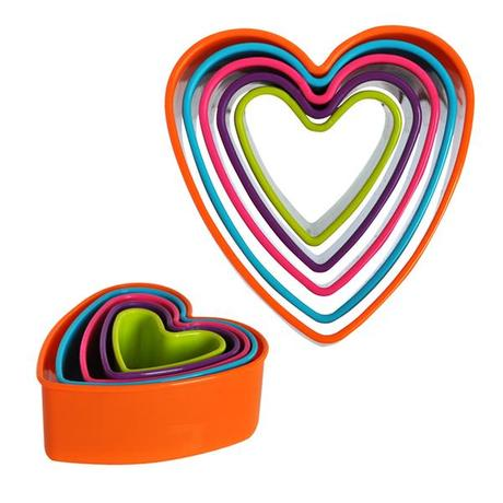 TORO Plastová vykrajovátka na cukroví, 5 ks, srdce