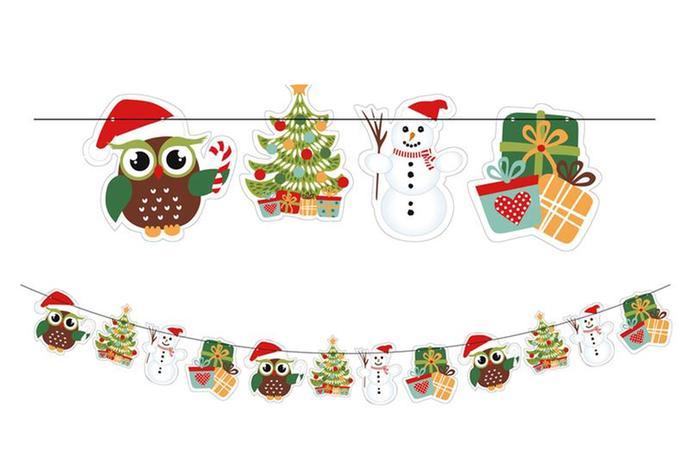 Girlanda 2, 3 m, 12 ks ozdob, sovy vánoce