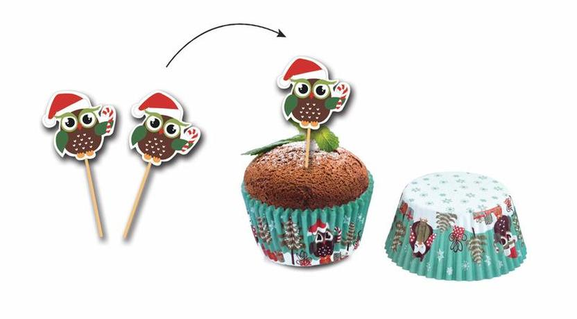 Papírové košíčky na muffiny + napichovátka 24...