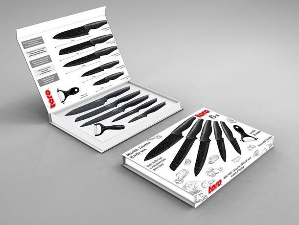 Sada nožů TORO 5ks + škrabka, nepřilnavý povr...