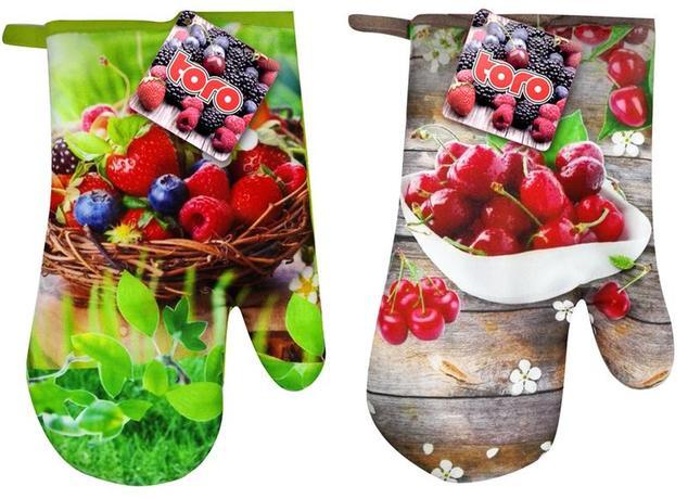 Kuchyňská chňapka, rukavice, ovoce, assort