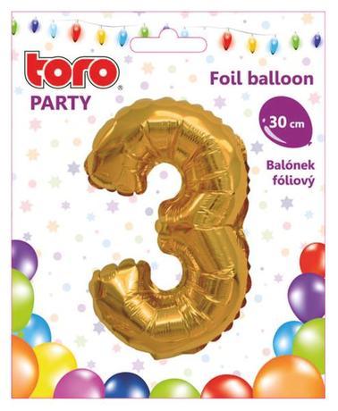Balónek foliový TORO číslice 3 30cm