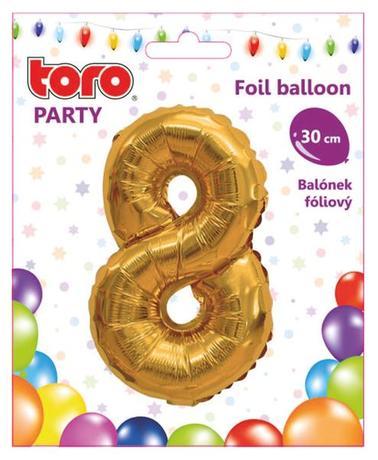 Balónek foliový TORO číslice 8 30cm
