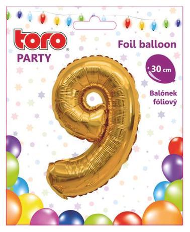 Balónek foliový TORO číslice 9 30cm