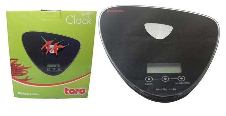 TORO kuchyňská váha elektronická do 5 ti Kg 20,5 x 20,3 x 2,6 cm