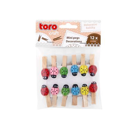 Dřevěné dekorační kolíčky TORO beruška 12ks